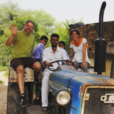 Engaged travel. Village outside of Delhi. Tractor ride with our driver, Karamveer. India.